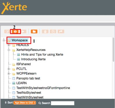 Xerte workspace and properties button